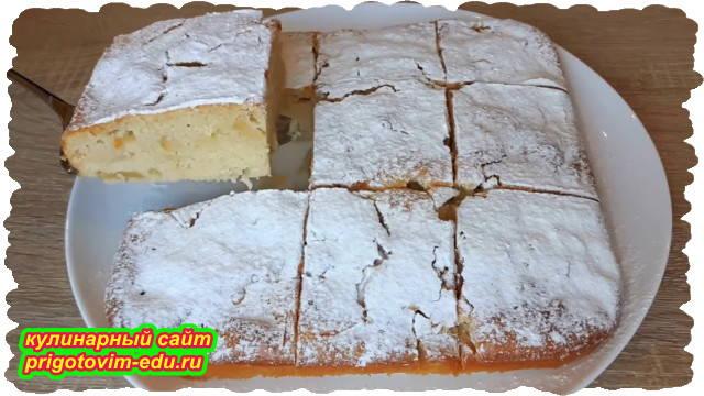Яблочный пирог на кефире приготовленный в духовке