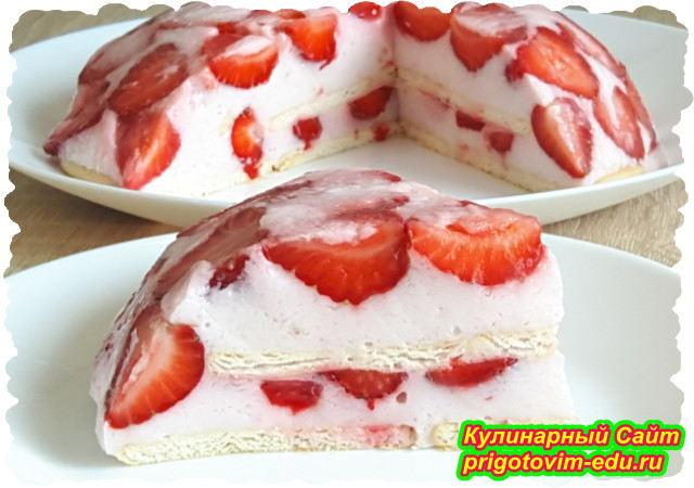 Клубничный торт на йогурте без выпечки. Видео рецепт
