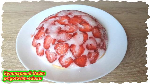 Клубничный торт на йогурте