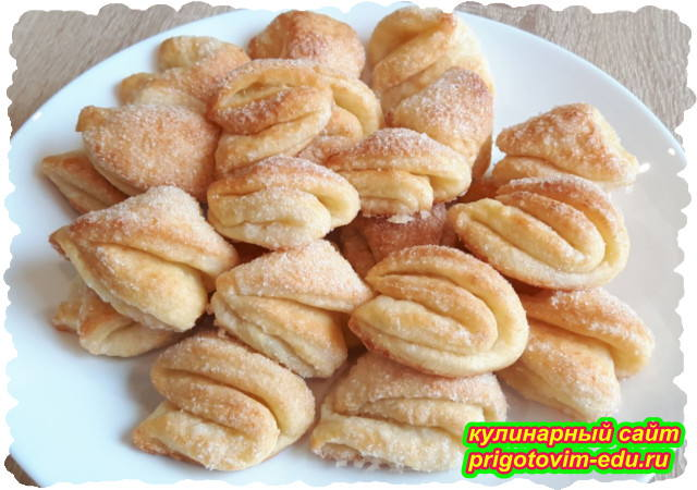 Творожное печенье треугольники с сахаром. Видео рецепт