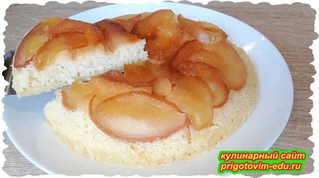 пирог с яблоками на сковороде