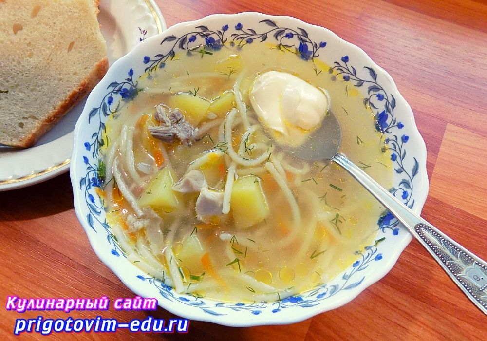 Суп с лапшой и куриным мясом