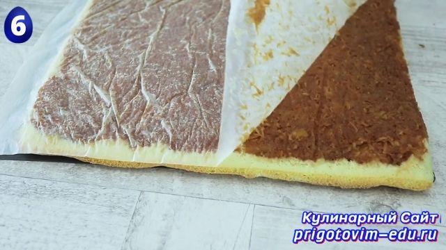 Как приготовить бисквитный рулет с яблоками 6