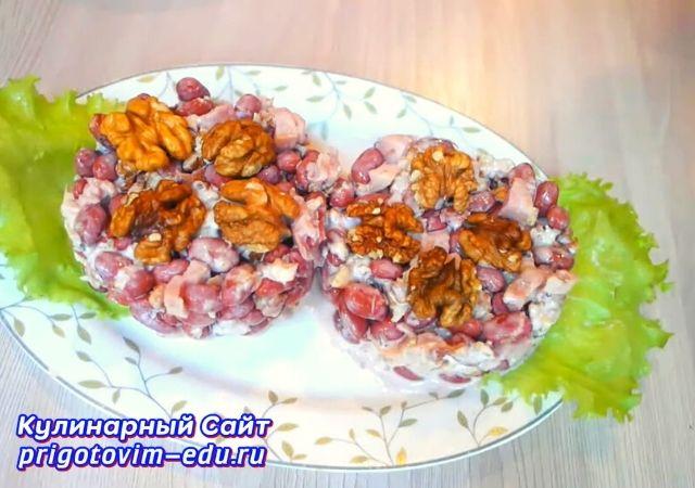 Салат из копченой курицы с фасолью. Салат на праздничный стол