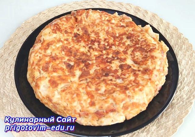 Запеканка на завтрак из лаваша с ветчиной и сыром